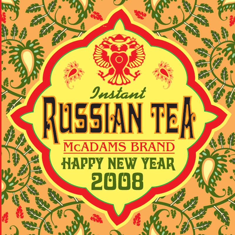 orange yellow and green russian tea label 2008 in adobe illustrator