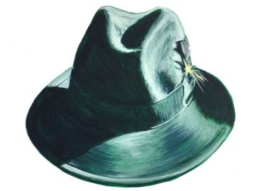 green fedora with yellow feather painted in watercolor