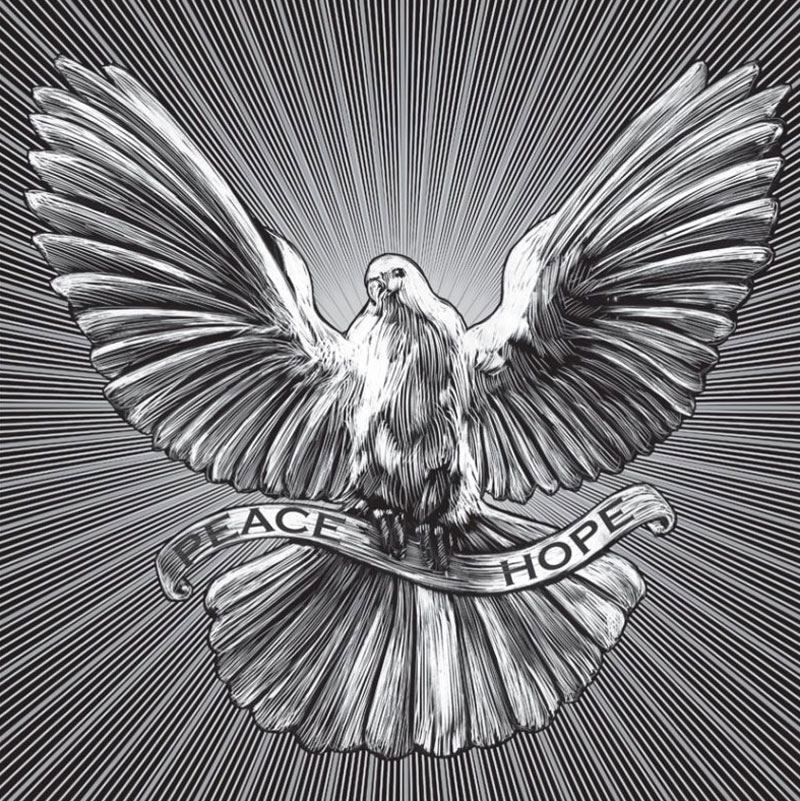 flying peace dove holding peace hope banner drawn in scratchboard