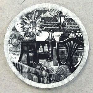 circular scratchboard drawing of antiques