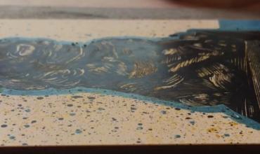 scratchboard artwork in progress.